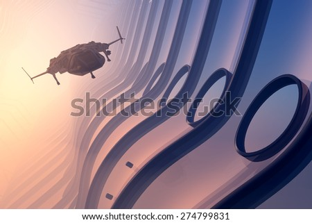 Space ships in space. - stock photo