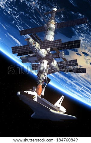 Space Shuttle And Space Station. 3D Scene. Elements of this image furnished by NASA.  - stock photo