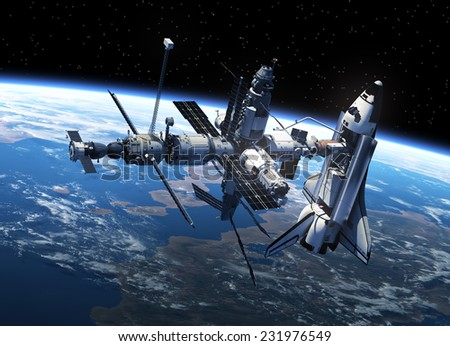 Space Shuttle And Space Station In Space. 3D Scene. Elements of this image furnished by NASA - stock photo