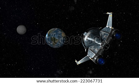 Space shuttle approaching earth and moon. 3D Scene . Some elements of this image furnished by NASA. - stock photo