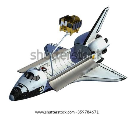 Space Shuttle Deploying Satellite On White Background. 3D Scene. - stock photo