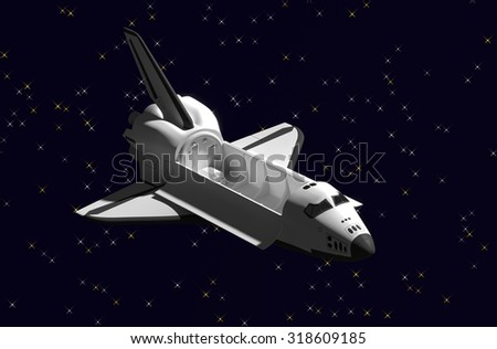 Space Shuttle door delivery vehicles in space. - stock photo