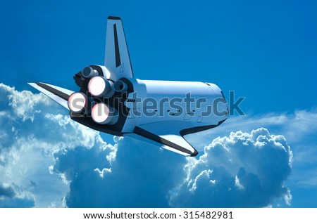 Space shuttle flying into the sky. - stock photo