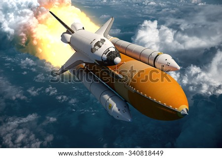 Space Shuttle Flying Over The Clouds. 3D Scene. - stock photo