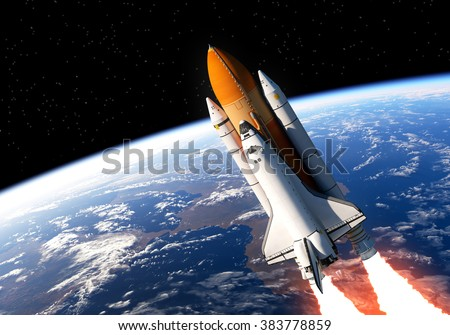 Space Shuttle In Space. 3D Scene. (NASA Images NOT USED). - stock photo