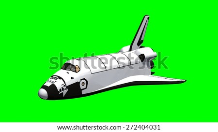 Space Shuttle Isolated on green screen  - stock photo