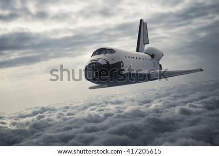 Space Shuttle Landing. 3D Illustration. - stock photo