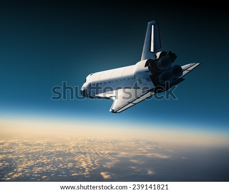 Space Shuttle Landing. 3D Scene. - stock photo