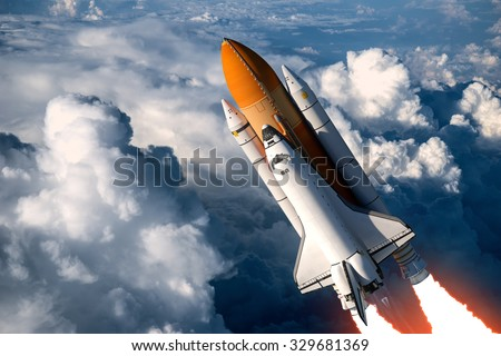 Space Shuttle Launch In The Clouds. 3D Scene. - stock photo