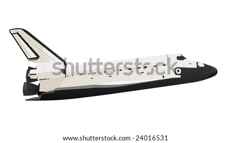 Space Shuttle profile view Over white - stock photo