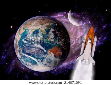 Space shuttle rocket launch Earth spaceship background. Elements of this image furnished by NASA. - stock photo