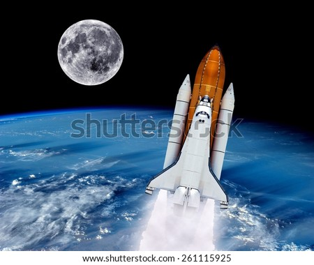 Space shuttle rocket launch earth spaceship moon. Elements of this image furnished by NASA. - stock photo