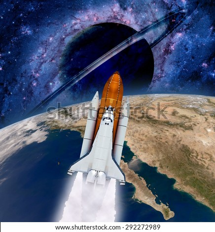 Space shuttle rocket launch spaceship Earth saturn planet. Elements of this image furnished by NASA. - stock photo