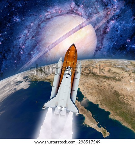 Space shuttle rocket power launch astronaut spaceship Earth planet. Elements of this image furnished by NASA. - stock photo