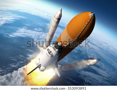 Space Shuttle Solid Rocket Boosters Separation. 3D Scene.  - stock photo
