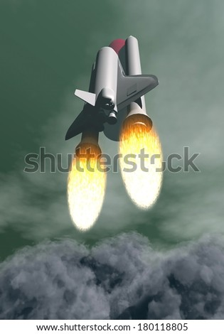 Space shuttle taking off among grey smoke and clouds - stock photo