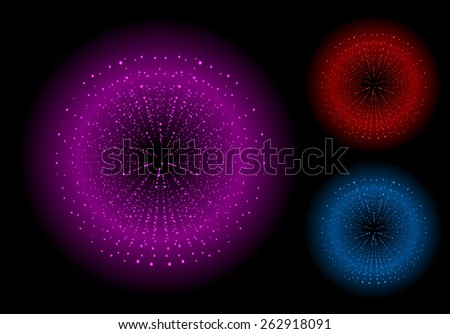 Space sparks spray shiny explosions set. Magenta, red, blue color. Raster clip art isolated on black - stock photo