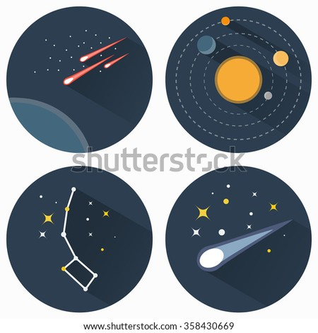 Space stars constellations, galaxies and comets. Solar system raster flat icons set illustration. Objects used for education astronomy manuals and science books, banners and flyers. - stock photo