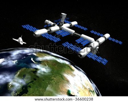 Space station and shuttle in orbit the earth