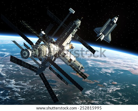 Space Station And Space Shuttle. 3D Scene. Elements of this image furnished by NASA. - stock photo