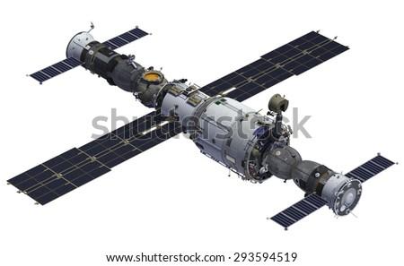 Space Station And Spacecrafts. 3D Center. - stock photo