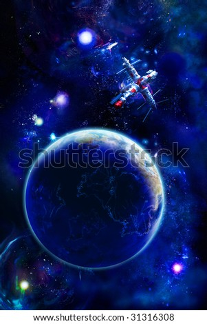 Space station at Earth, on the nightly side of planet luminous cities are visible - stock photo