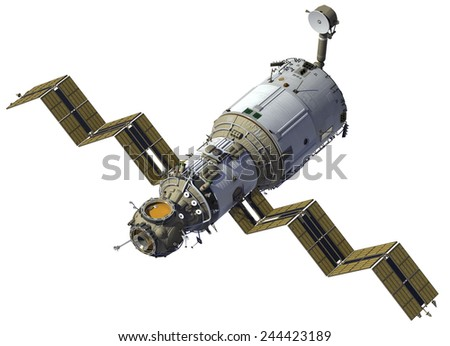 Space Station Deploys Solar Panels. 3D Model. - stock photo