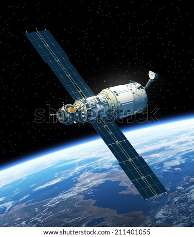 Space Station In Space. 3D Scene. Elements of this image furnished by NASA.