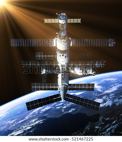 Space Station In The Rays Of Sun. 3D Illustration.