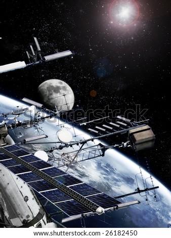 Space station on orbit, photorealistic image - stock photo