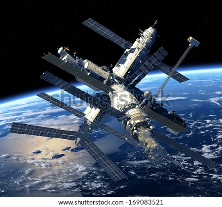 Space Station Orbiting Earth. 3D Model. Elements of this image furnished by NASA. - stock photo