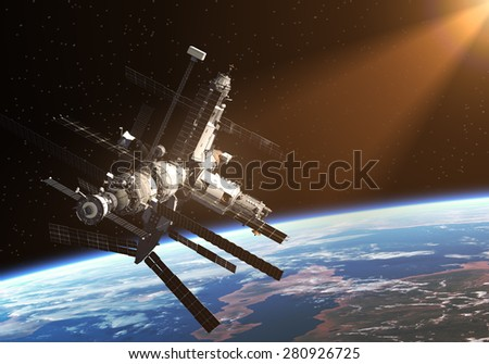 Space Station Orbiting Earth. 3D Scene. - stock photo