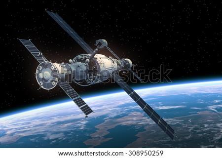 Space Station Orbiting Earth. 3D Scene. - stock photo