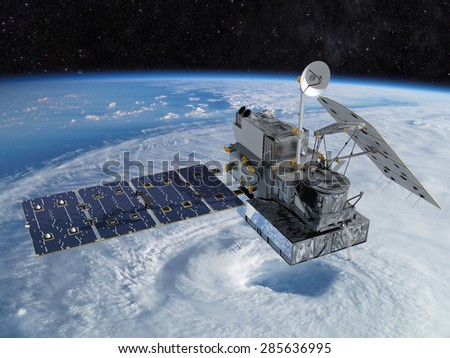 Space station orbiting the earth. Elements of this image furnished by NASA. - stock photo