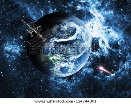 Space station over blue  planet earth  in space. Elements of this image furnished by NASA