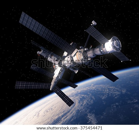 Space Station Over The Earth. 3D Scene.