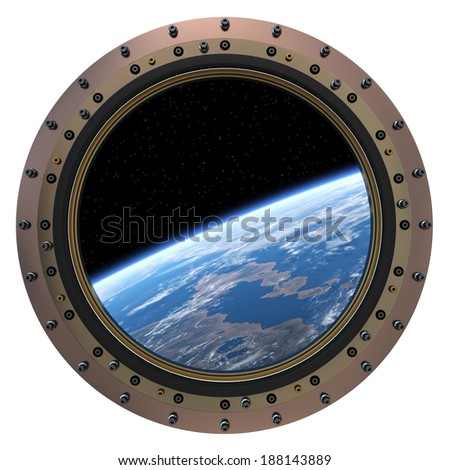 Space Station Porthole. 3D Scene. Elements of this image furnished by NASA.  - stock photo