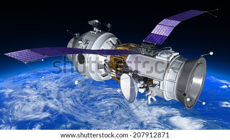Space Station travels in orbit around Earth. Astronaut works in open space. 3d illustration. Elements of this image are furnished by NASA   - stock photo