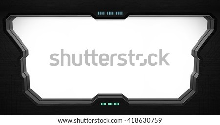 Space station window with white background '3D rendering' - stock photo