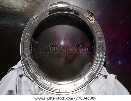 space suit. empty Cosmonaut Helmet  Astronaut Spaceman Transperent Glass Background.