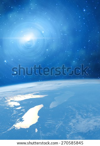 Space sunrise in a distant quasar galaxy. Elements of this image furnished by NASA. Digital illustration.