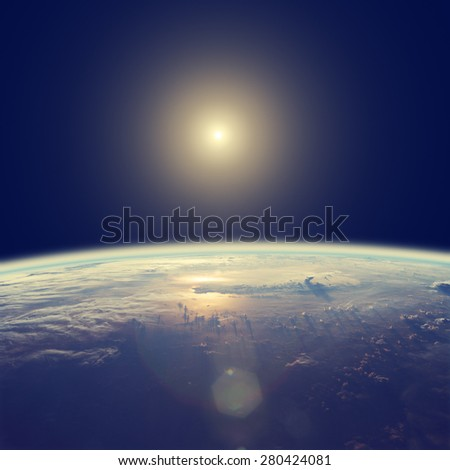 Space sunrise in a distant quasar galaxy. Elements of this image furnished by NASA. Digital illustration. - stock photo