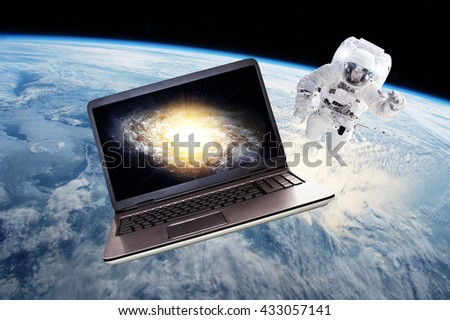 Space Technology - Elements of this image furnished by NASA - stock photo