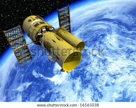 Space Telescope in Earth Orbit - stock photo