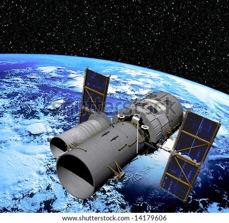 Space Telescope in Orbit - stock photo