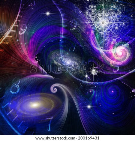 Space Time and Quantum Physics Elements of this image furnished by NASA - stock photo