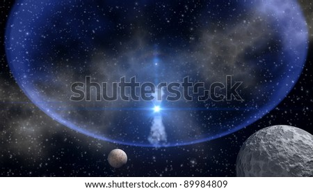 Space-time warp abstract with blue star explosion in outer space - stock photo