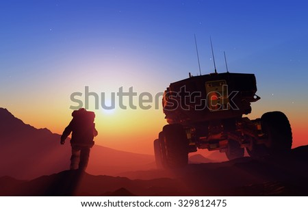 Space transport and astronaut moves along the mountain lanshafty. - stock photo