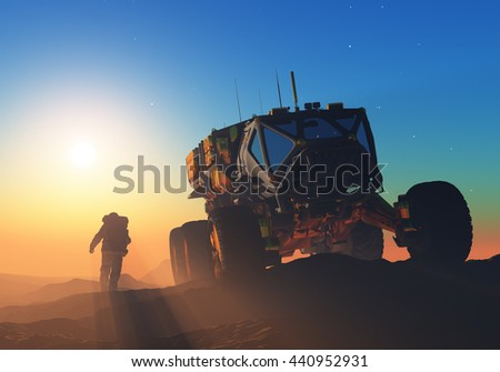 Space transport moves along the mountain lanshafty.,3d render - stock photo