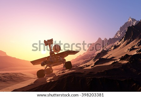 Space transport moves along the mountain lanshafty. 3D rendering - stock photo